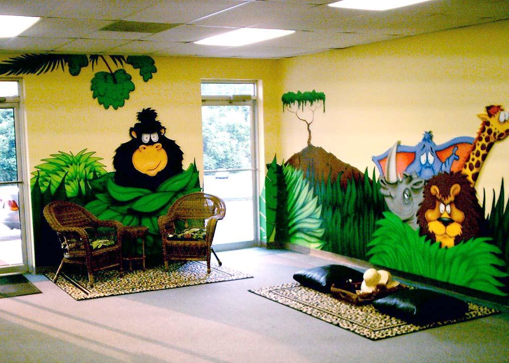 Cartoon Jungle Mural by Atlanta Mural Artist Rick Baldwin