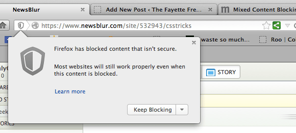the Firefox mixed content warning