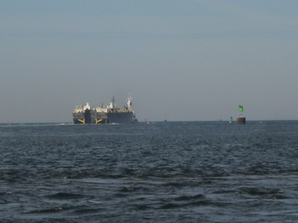 Massive barge in the Hog Island Channel.