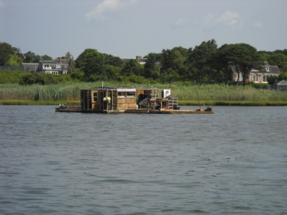 Floating oyster shack.