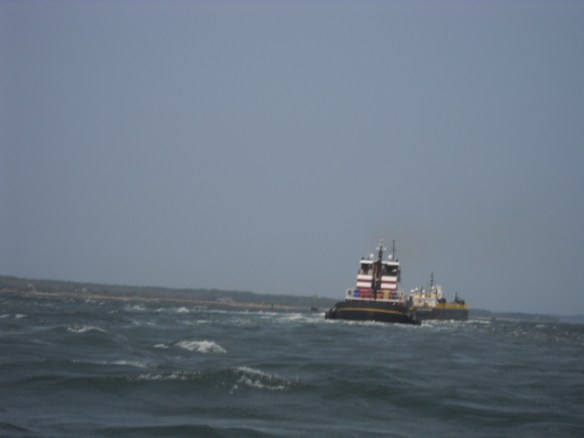 Rough water in the channel.