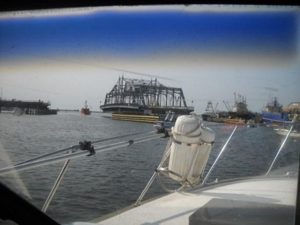 The New Bedford Bridge swings open.