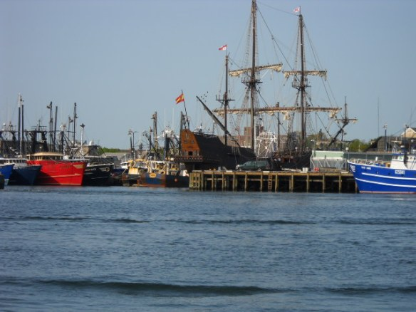 The Mayflower II docked for repairs.