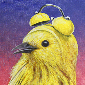 Painting called Early Bird, from the Berserk Birds series. Yellow bird with alarm clock for a head on a background of a rising sun. Made by Rick van den Berg.