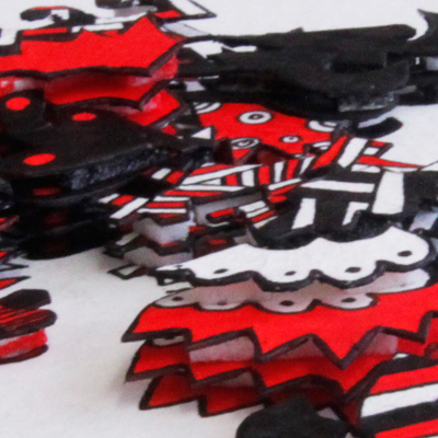 Layered drawing with 3-D effect in red and black called Be Passionate, made by Veerle Ritstier.