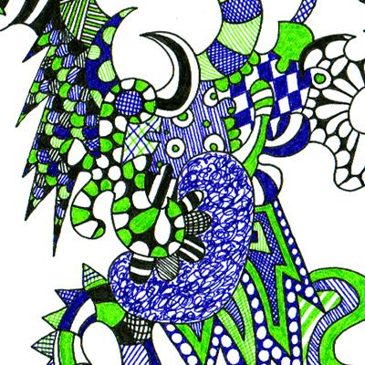 Detail of colorful drawing called Moonwalk, made by Veerle Ritstier.