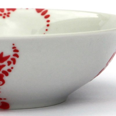 Detail of hand painted tableware made by Veerle Ritstier with red coloured particles.