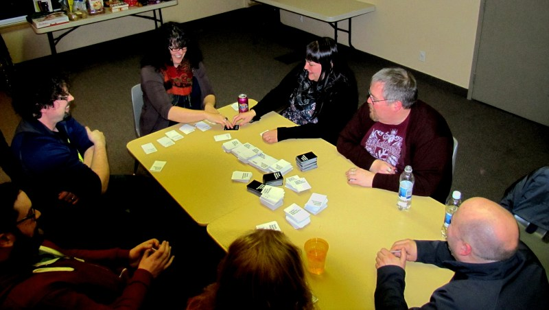 We finished the evening with a game of Cards Against Humanity. That's me, Tania, Melly, Elliot, Chris, and Dan.