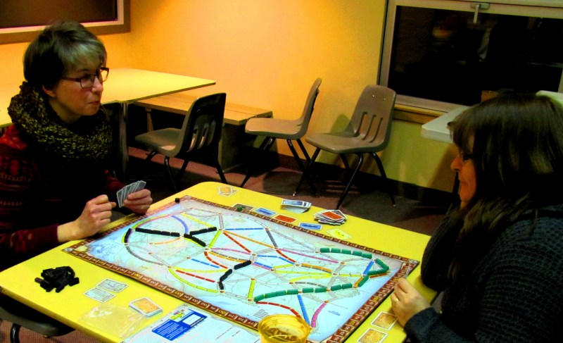 Sandy and Jen playing Ticket to Ride