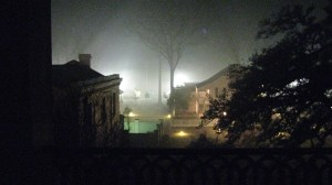 Night Fog around Plantation Mansion