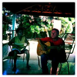 Luis and Lourdes sing over breakfast