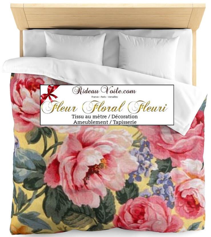 tissus rideaux imprimes fleurs fleuris