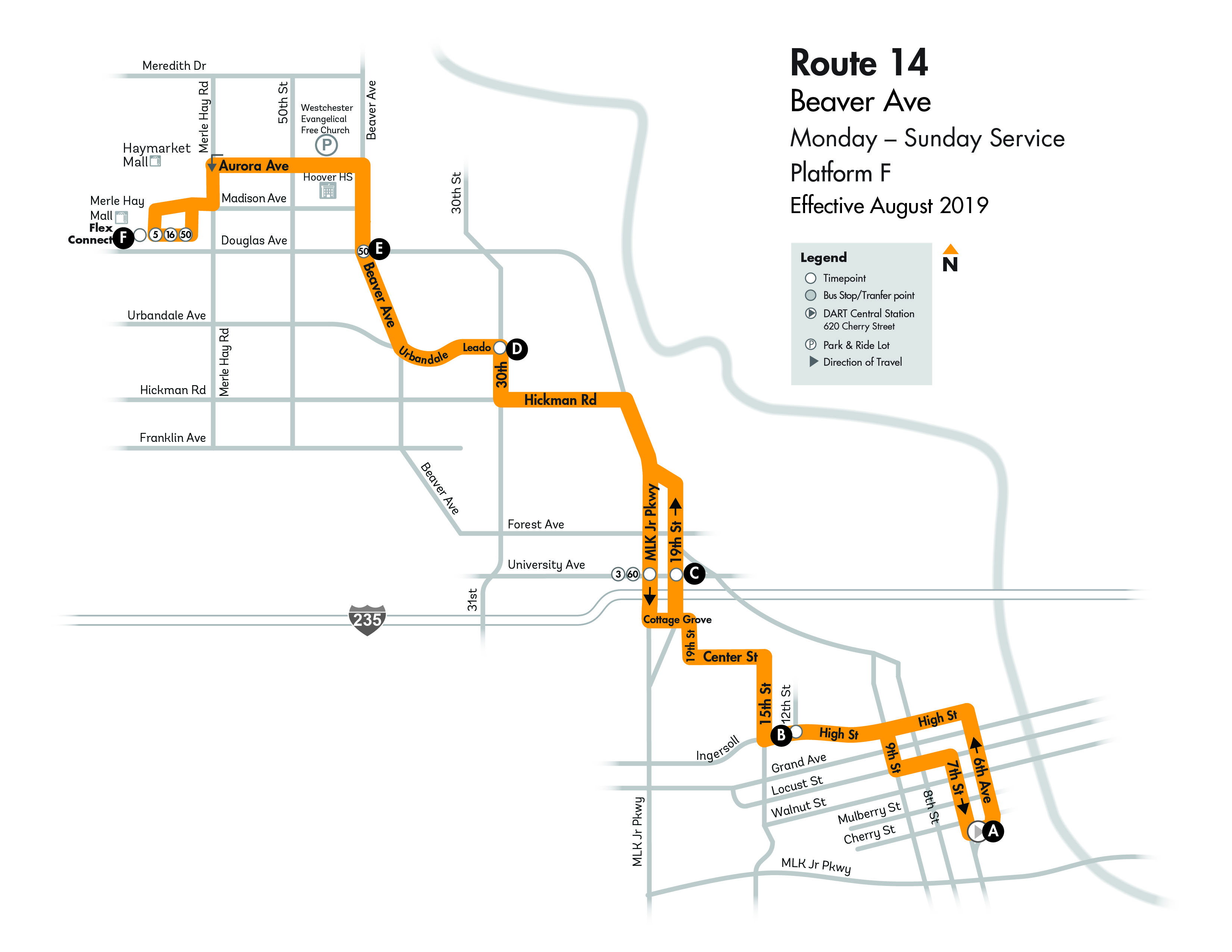 Dart Local Route 14 Beaver Avenue Dart Local Bus Routes