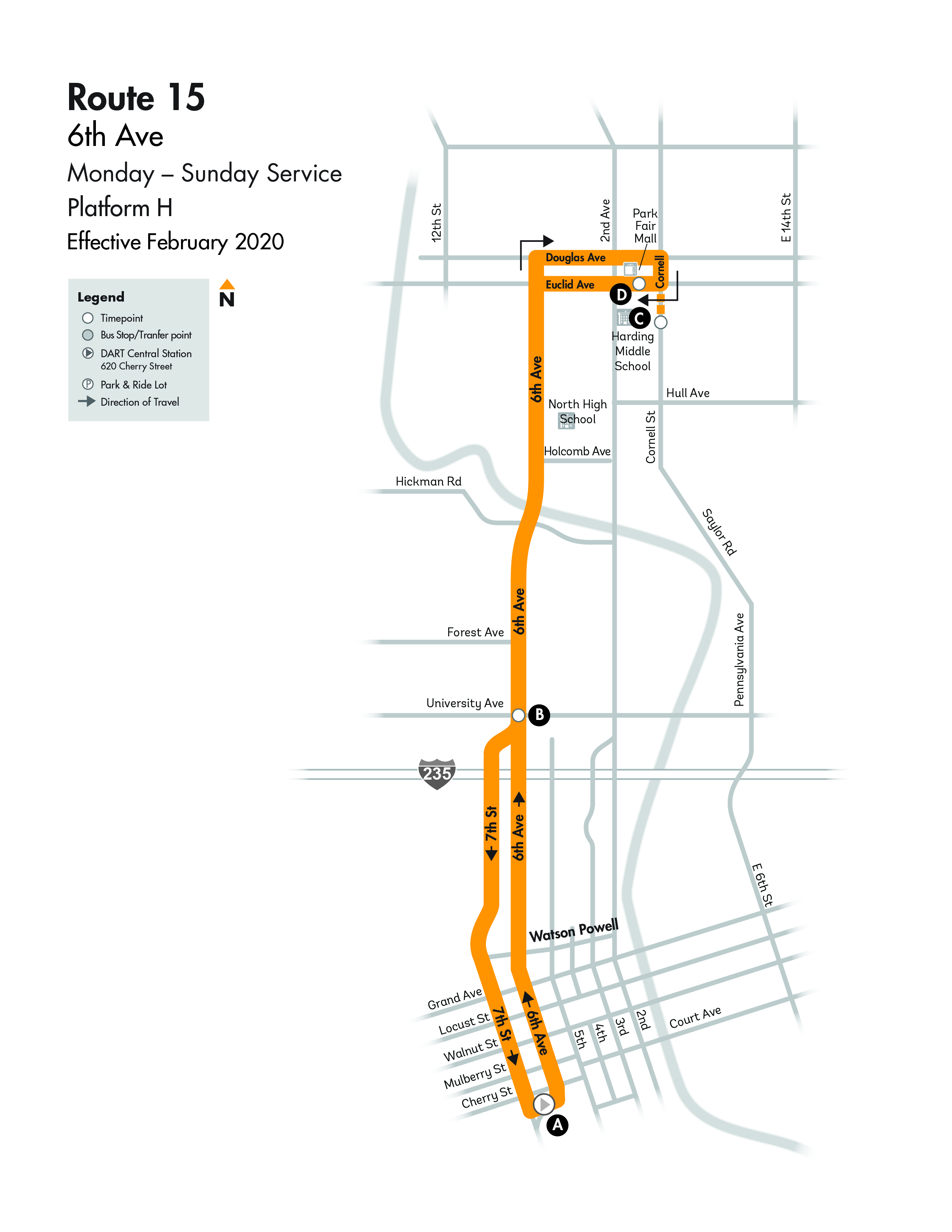 Dart Local Route 15 6th Avenue Dart Local Bus Routes