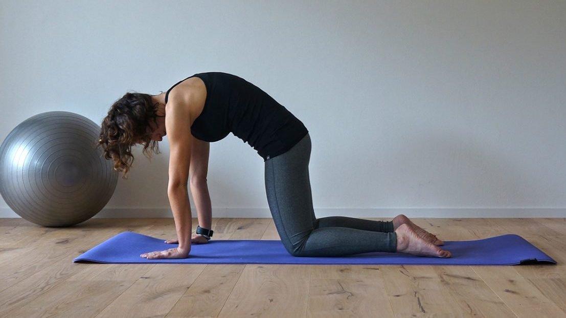 esercizio di pilates che permette di allungare i muscoli della schiena contratti durante l'allenamento in bicicletta