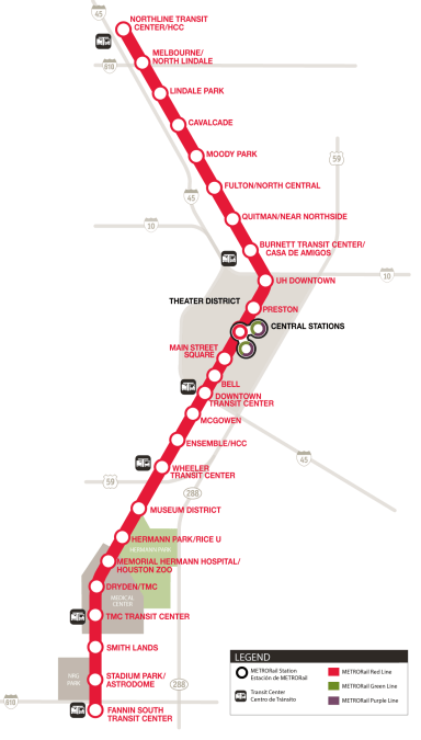 METRORail Red Line map