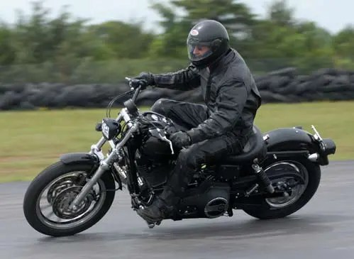 Bill Dragoo on his Harley Davidson at Hallett track day.