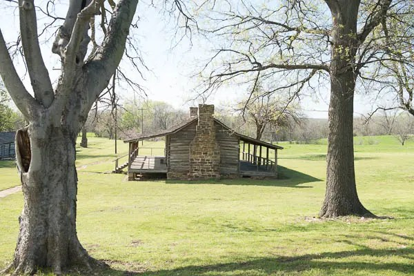 Several cabins and bunkhouses are scattered across historic Fort Gibson.