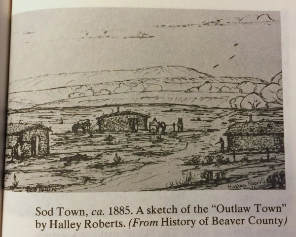 "Sod Town, ca. 1885. A sketch of the ""Outlaw Town"" by Halley Roberts. (From History of Beaver County)"
