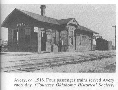 Avery, ca. 1916. Four passenger trains served Avery each day. (Courtesty Oklahoma Historical Society)