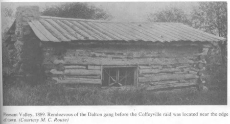 Pleasant Valley, 1889. Rendezvous of the Dalton gang before the Coffeyvill raid was located near the edge of town. (Courtesty M. C. Rouse)