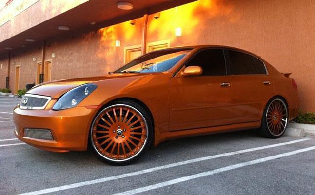 rides cars infiniti G35 orange