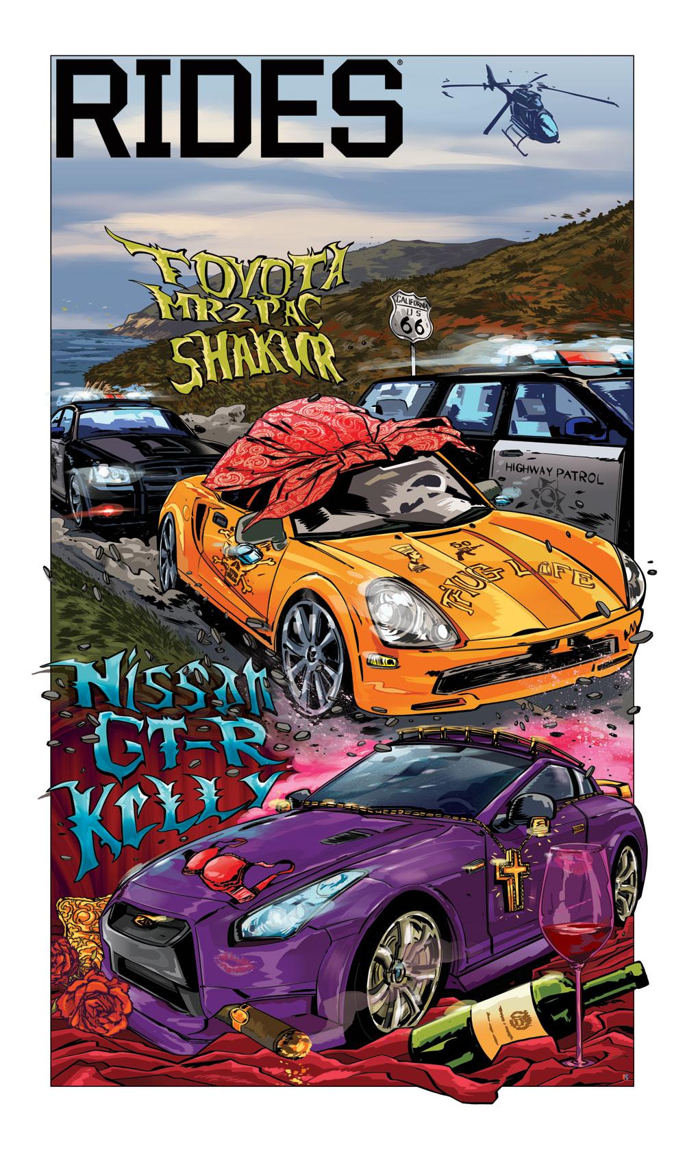 rides cars cartoon car toon mash box r kelly tupac 2pac shakur tyota mr2 nissan gt-r