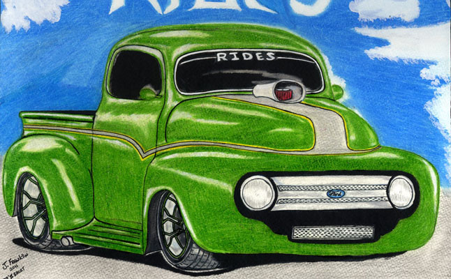 rides cars j. franklin drawing art