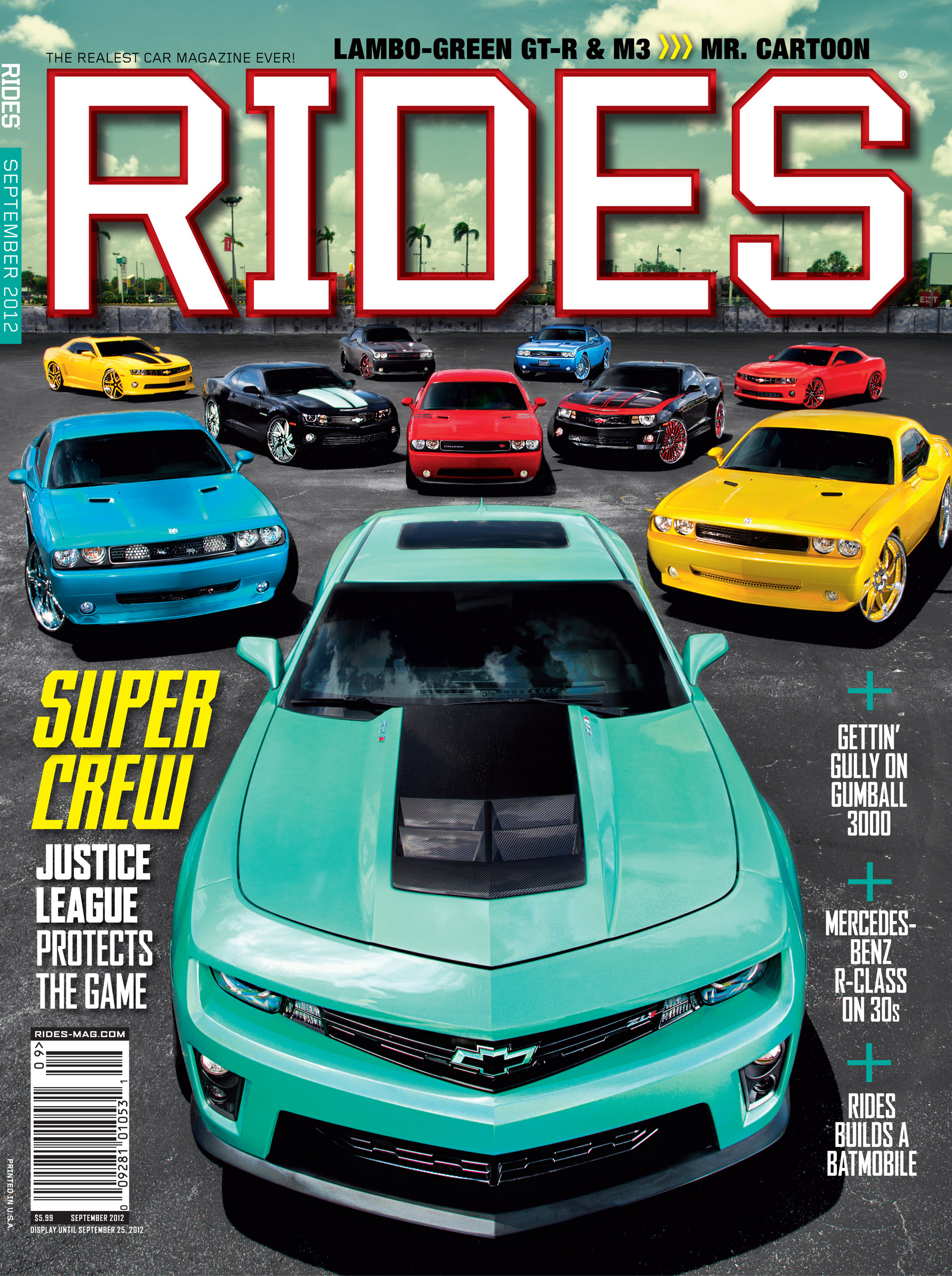 rides cars september 2012 cover justice league camaro miami batmobile issue 57