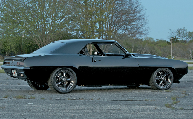 rides 1969 chevy chevrolet camaro maro black sema rims american muscle car modified restored