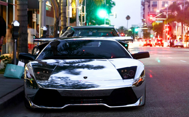 rides, lamborghini, lambo, chrome, wrap, chrome-wrapped, black rims, italy, city, street lights, night, first, reflection, paint job, only, sick