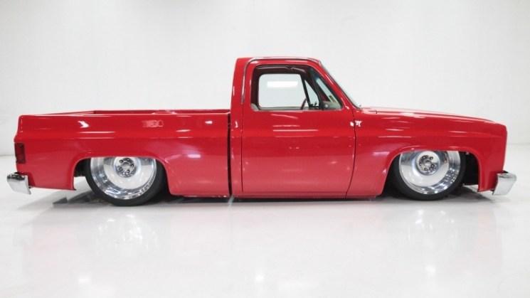 red slammed chevrolet c10 chevy truck bagged rides magazine edelbrock flowmaster ekstensive