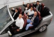 Welcome to Wolfsburg. Robertino Alaimo of Visitor Services (at a wheel) shows a organisation of StartUp Europe participants from Italy around a Volkswagen plant. Timon Thomaser (front left), Paola Schiano, Andrea Gianni, Francesco Rossiello (second row, from left) and Francesco Jacolino (back row) reason adult their creatively printed plant ID cards. Volkswagen has offering a StartUp Europe trainee module in Italy given a commencement of 2014.
