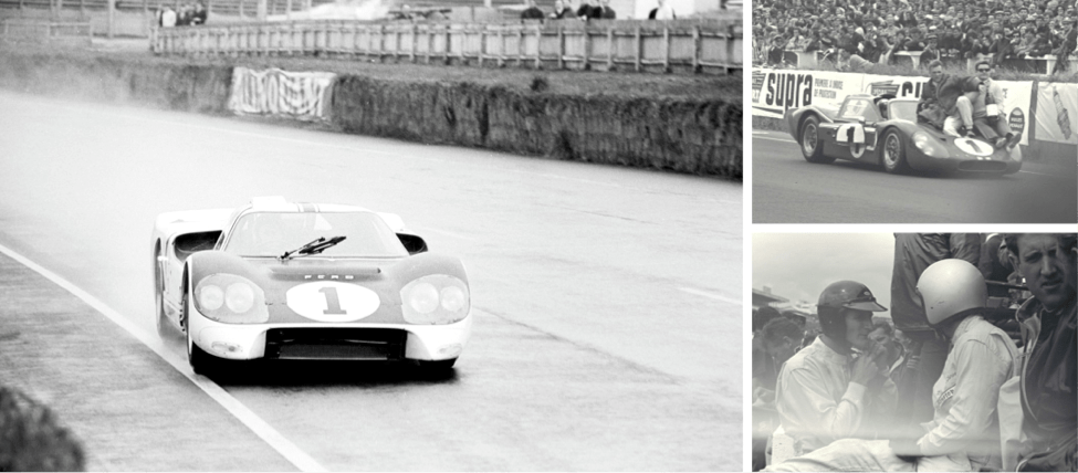 Images of a ancestral Ford feat during Le Mans in 1966