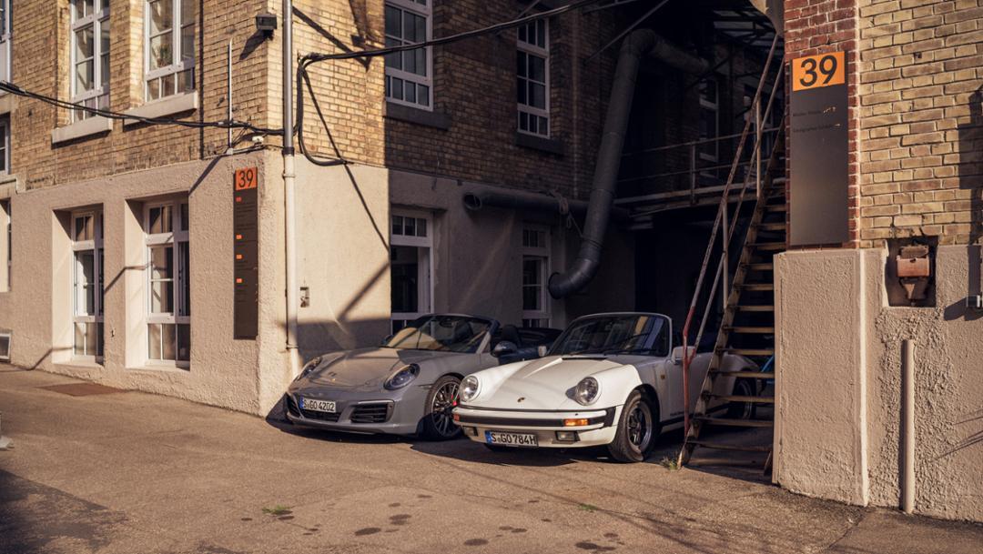 911 Carrera S Cabriolet (2018), 911 Carrera 3.2 Cabriolet (1984), l-r, Stuttgart East, 2018, Porsche AG