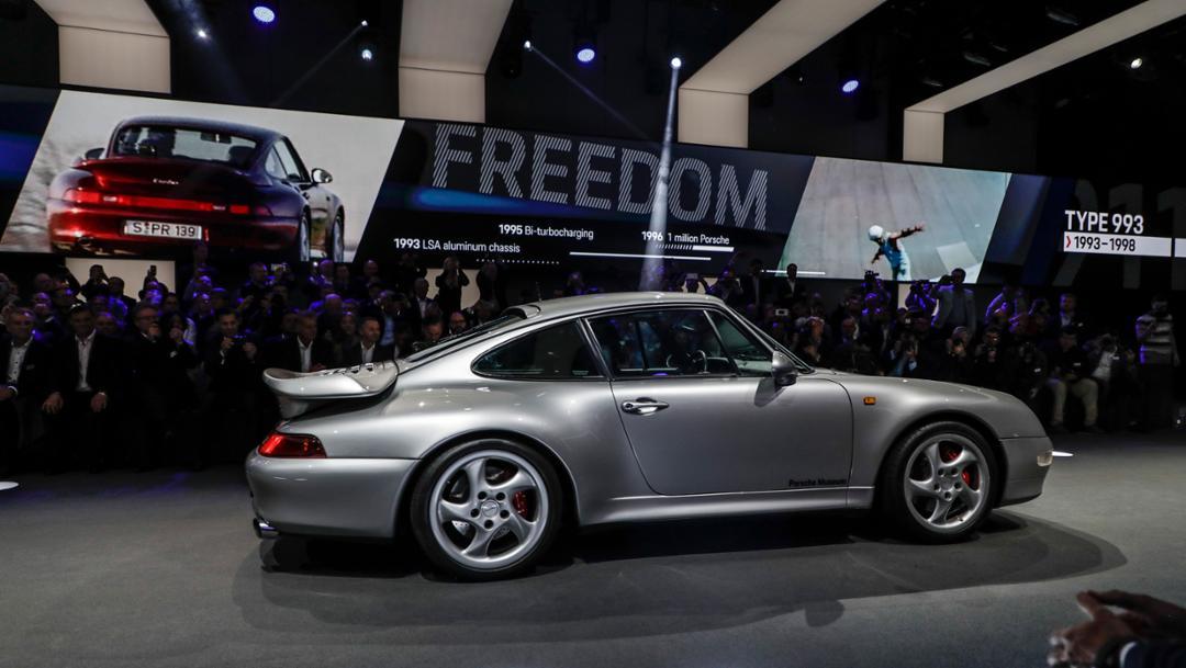 911 (993), universe premiere Porsche 911, Los Angeles, 2018, Porsche AG
