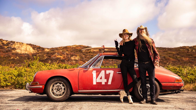 "Hannah Elliott, Magnus Walker, l-r, ""Petro-Surf"" festival, Kampen, Sylt, 2018, Porsche AG"
