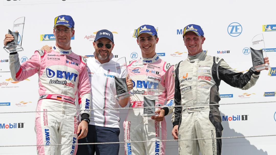 Michael Ammermüller, Walter Lechner jr., Thomas Preining, Jaap von Lagen, l-r, Porsche Carrera Cup Deutschland, competition 6, Nürburgring, 2018, Porsche AG