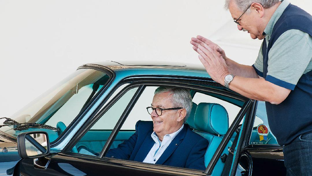 Tilman Brodbeck, Reinhold Schreiber, l-r, Porsche 911 Carrera 3.2, 2018, Porsche AG