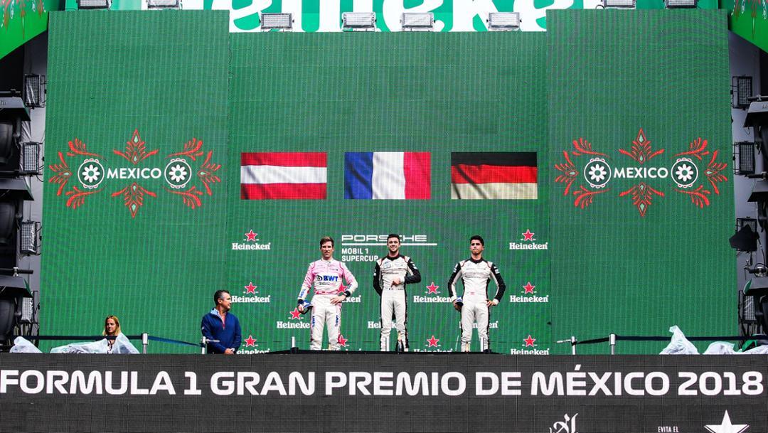 Michael Ammermüller, Julien Andlauer und Thomas Preining, Porsche Mobil 1 Supercup, turn 9, Mexico, 2018, Porsche AG