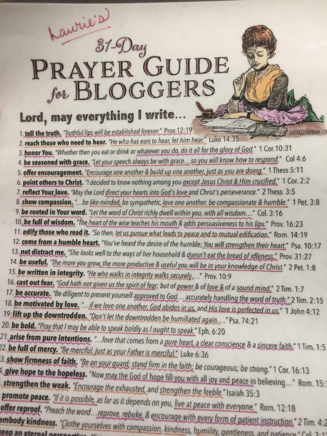 Prayer guide for blog