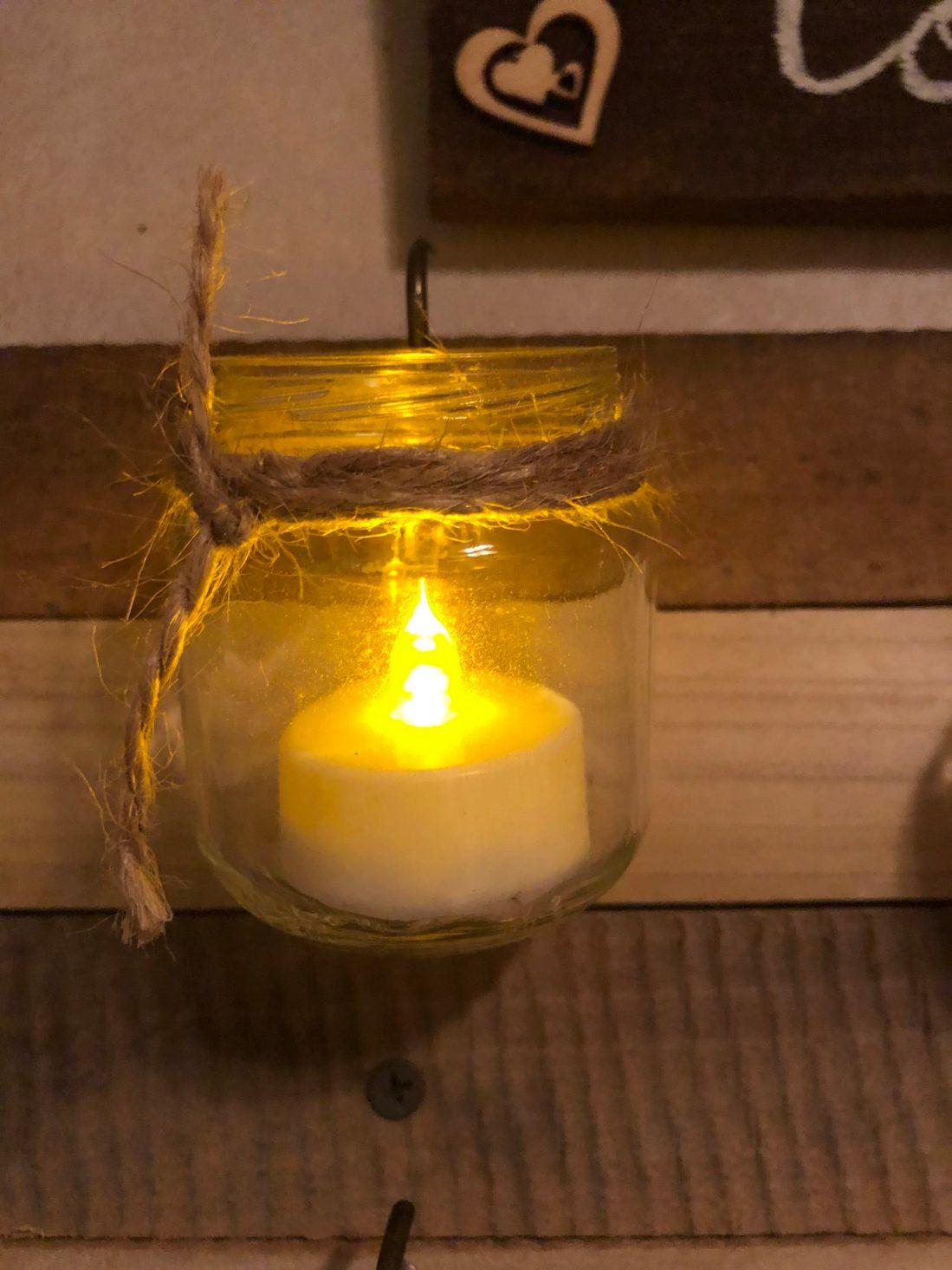 Tea light in baby food jar