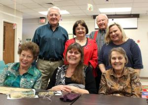 """Descendants of Ridgeland's Third Mayor, Judson David Miner, happily gather in Ridgeland for a presentation by Marion Spencer at the March meeting of the Historical Society of Ridgeland, titled """"Ridgeland in the Early 20th Century."""" Pictured from left, seated: Mary Sue Spencer, Nancy Spencer Ware, Patricia Spencer. From left, standing: Marion Spencer, Kitty McCleave, Billy McCleave and Cathy Giroux."""