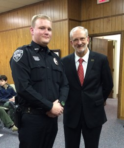 Officer Stephen Webb and Mayor Gene McGee at a recognition ceremony of Officer of the Month held March 4, 2014. Officer Webb's actions were noted as being commendable and indicative of a professional and motivated officer.