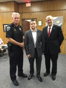 """Officer Hunter Bridges of the Ridgeland Police Department was selected as Officer of the month for September, 2015. He was recognized at Mayor and Board of Aldermen meeting. """"Officer Bridges performed his duties at a level of excellence that this administration continues to strongly encourage,"""" said Lt. Brian Myers."""