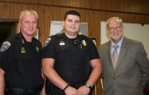 Ridgeland Police Officer Patrick Craig was recognized at the Mayor and Board of Aldermen Meeting on October 6, 2015 as Officer of the Month for August. Due to Officer Craig's attention to detail, observant behavior and initiative, a violent felon was arrested and taken off the streets. His actions are commendable and indicative of a professional and motivated officer. Pictured left to right are Ridgeland Police Chief John Neal, Officer Patrick Craig, and Mayor Gene McGee.