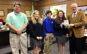The Olde Towne Middle School Technology Student Association Construction Challenge Team received the Youth and Education Project Award from Keep America Beautiful. The team was recognized at a recent Mayor and Board of Aldermen Meeting. Pictured from left Bill Richardson, Technology Student Association adviser, and team members, Madeleine Berry, Jarrett Huddleston, and Claire Richert, with Mayor Gene McGee.