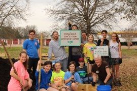 Ridgeland Community Garden Volunteers on day two of Spring Break include (front, from left) Hope Ellison, AnnaKris Byrd, Bailey Williamson, Allie Byrd, Zachary Weaver, and Jerry Williams. Back, from left are Andrew Powell, Wes Tankersley, Justin Medders, Brooke Deaton, Summer Roberson, Davis Woodson and Sarah King.