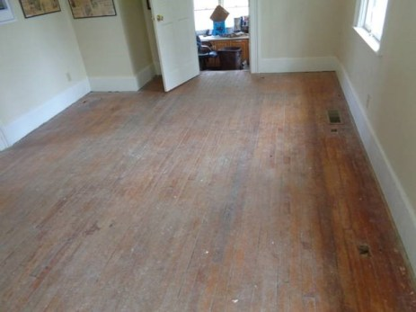 March 27 – dining room floor before refinishing