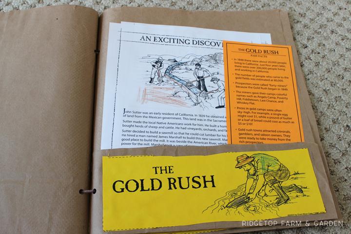 Ridgetop Farm & Garden |History Pockets | Moving West | Gold Rush